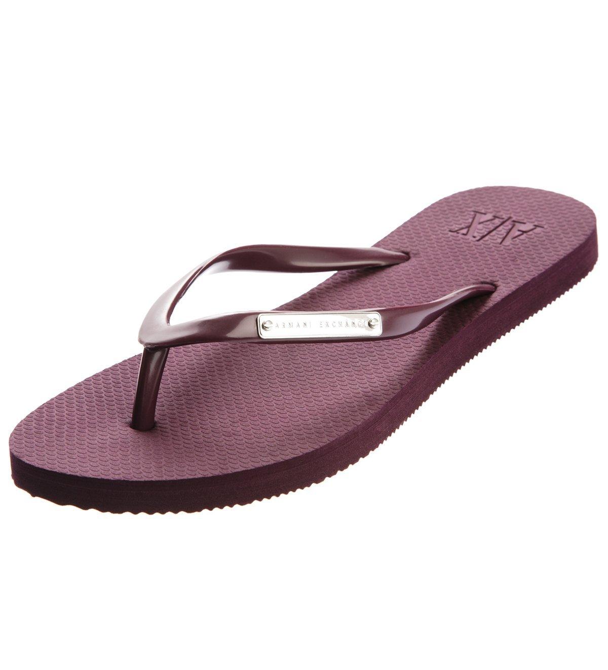 47eedfe85138ca Armani Exchange Logo Plate Flip Flop - Aubergine — Armani Shoes