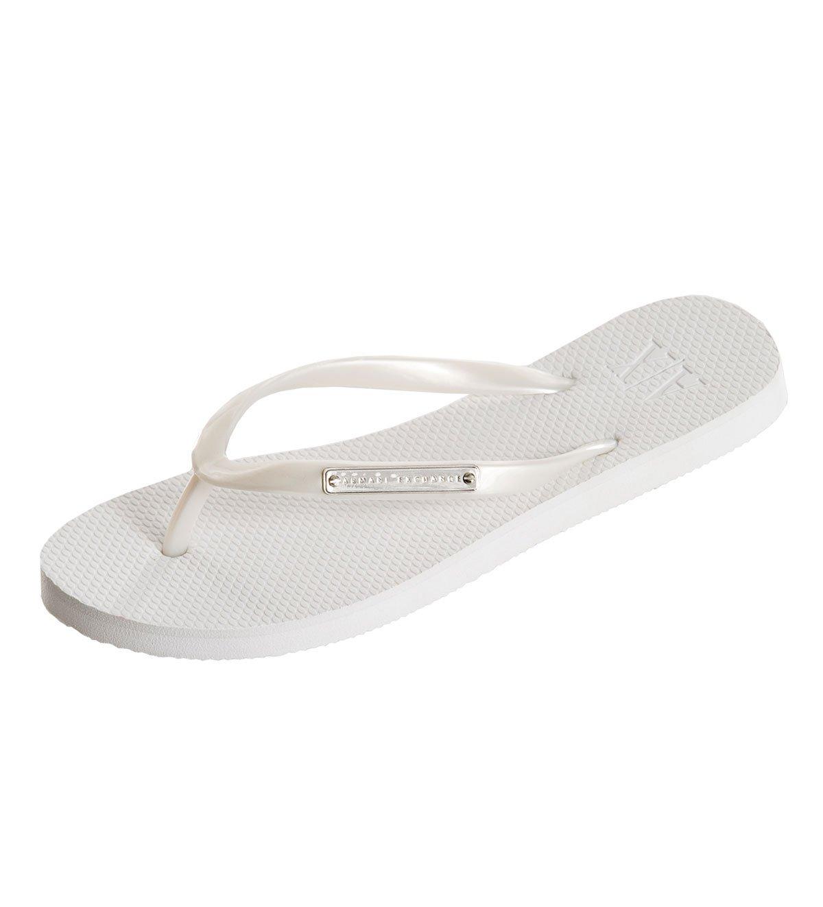 d65e92a325b Armani Exchange Womens Logo Plate Flip Flop - White — Armani Shoes