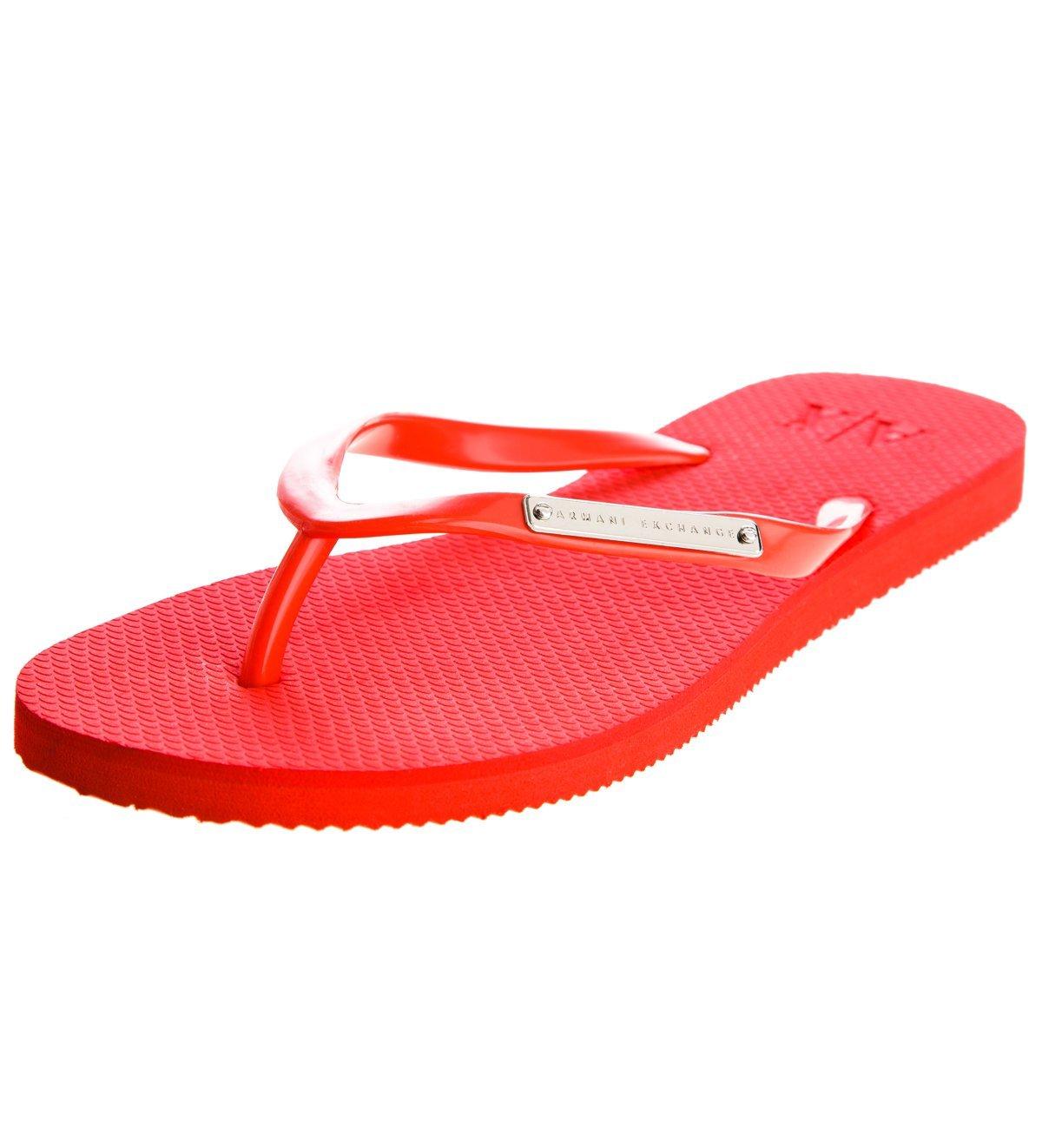 c5be135fbea Armani Exchange Womens Logo Plate Flip Flop - TOMATO — Armani Shoes