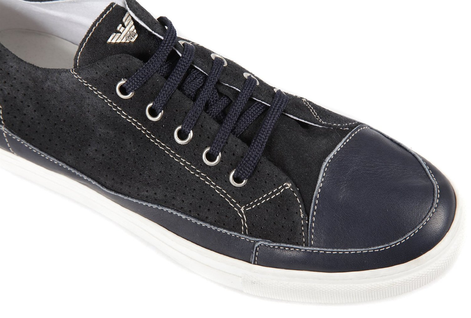 Armani Jeans men s shoes suede trainers sneakers blu Image 5