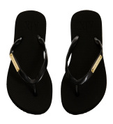 Armani Exchange Womens Logo Plate Flip Flop - Black