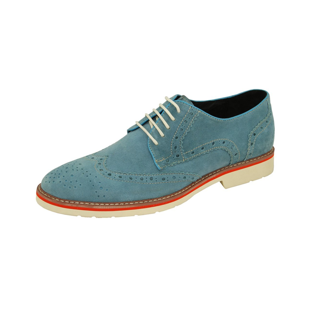 Natazzi Italian Napa Suede Calfskin Leather Shoes Hand Made Men S Player Lace Up Wingtip Oxford Shoe Model Armani 6010 Sky Blue