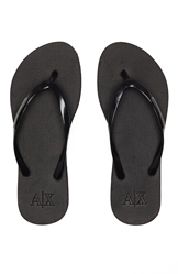 Armani Exchange Womens A|X Logo Plate Flip Flop - Black