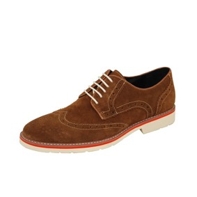 Natazzi Italian Napa Suede Calfskin Leather Shoes Hand Made Men's Player's Lace-Up Wingtip Oxford Shoe Model Armani S-6010 Cognac