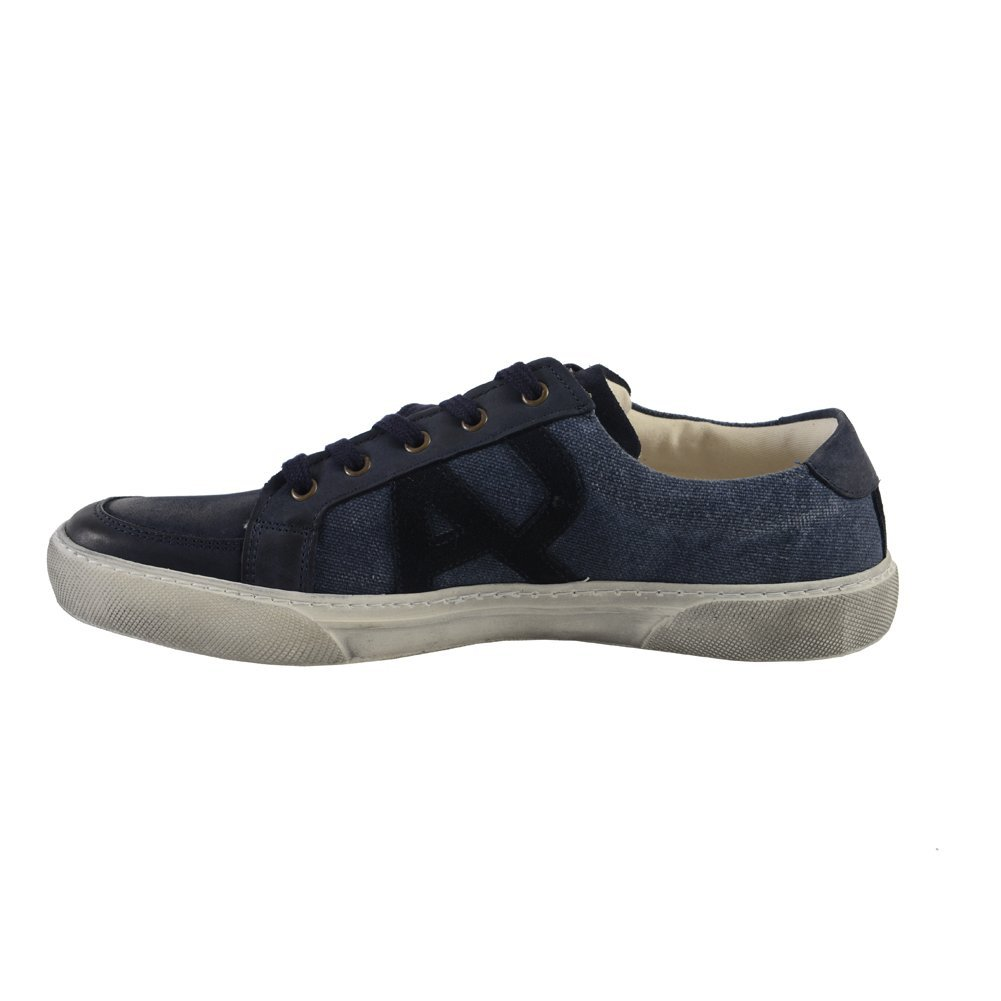 armani s blue leather suede fashion sneakers