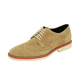 Natazzi Italian Napa Suede Calfskin Leather Shoes Hand Made Men's Player's Lace-Up Wingtip Oxford Shoe Model Armani S-6010 Sand