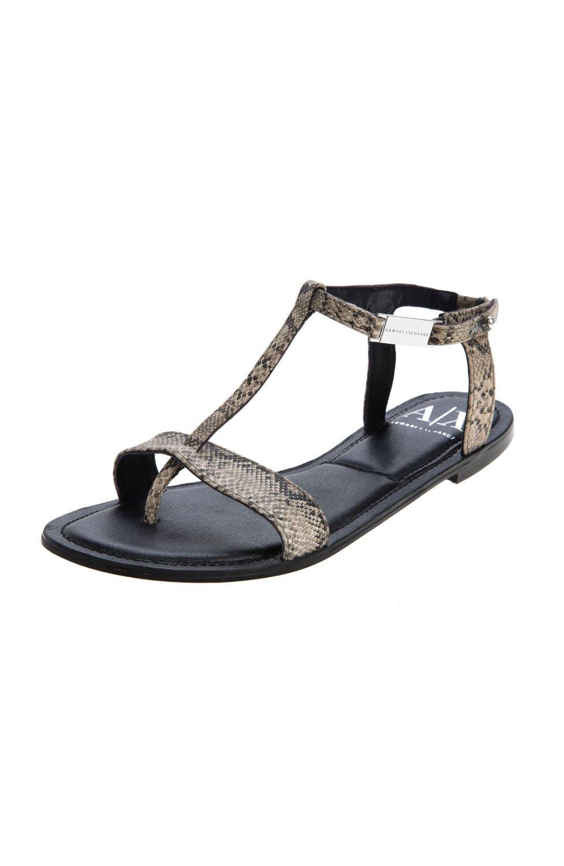 Armani Exchange Logo Slide Sandal Armani Exchange Reptile T-Strap