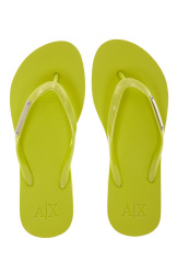 Armani Exchange Womens Logo Plate Flip Flop - Faded Lime