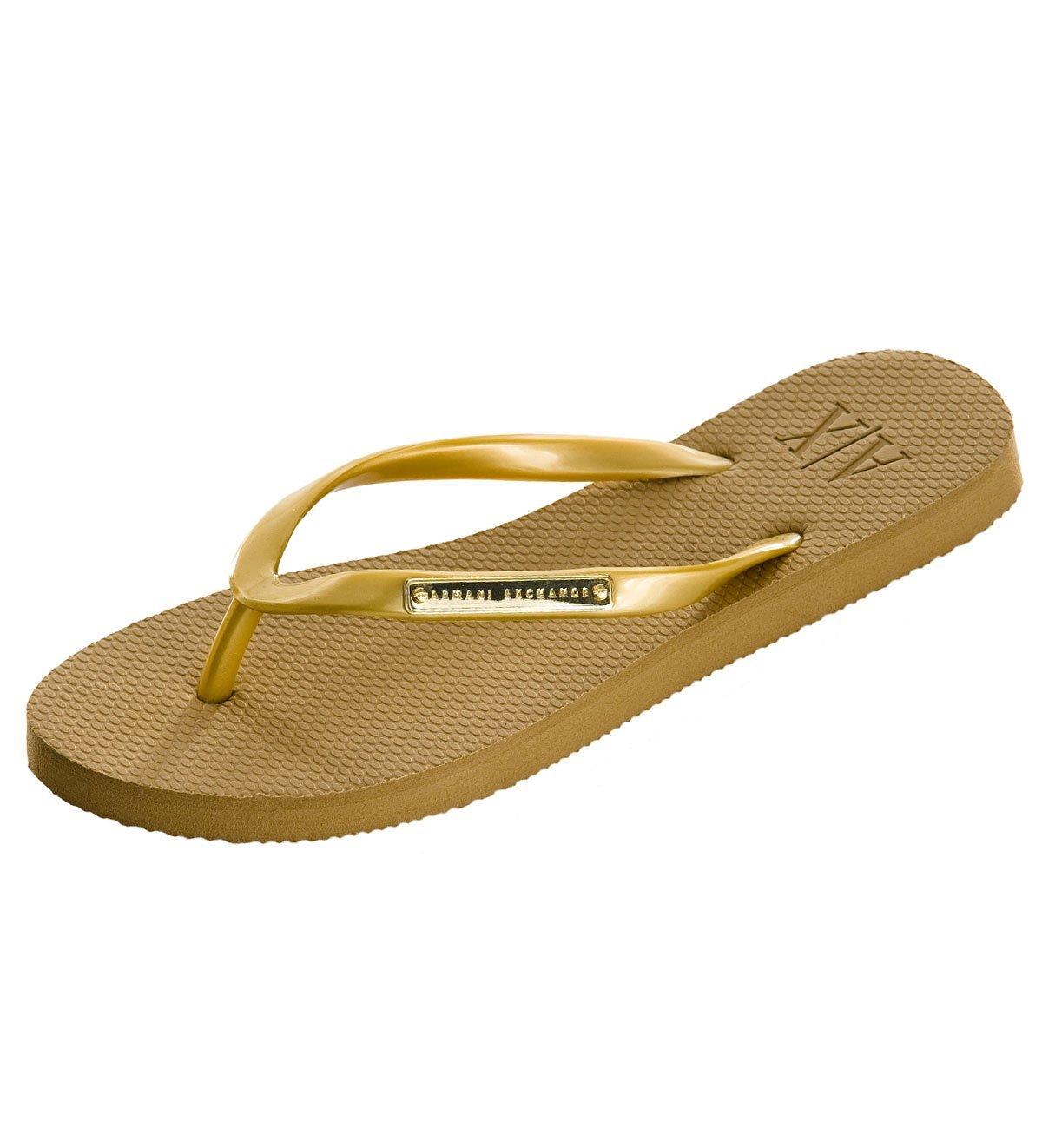 577479a5f ... Armani Exchange Womens Logo Plate Flip Flop - Gold Image 3. Sale